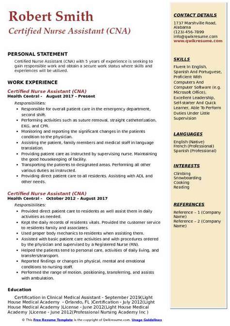 certified nurse assistant resume samples qwikresume