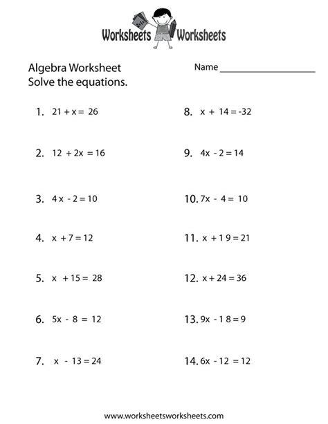 simple algebra worksheet printable school