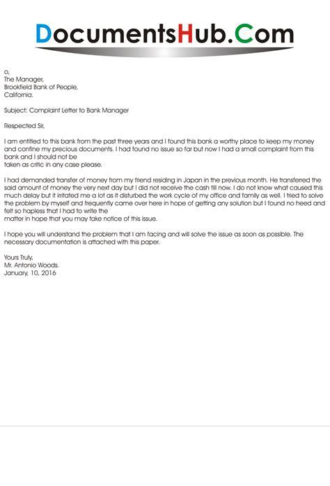 Sample Complaint Letter to Bank Manager - DocumentsHub.Com