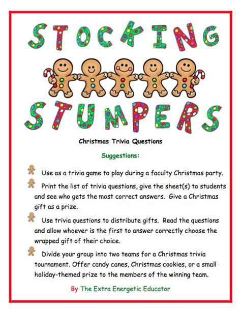 Stocking Stumpers Christmas Trivia Game  Stockings, Plays