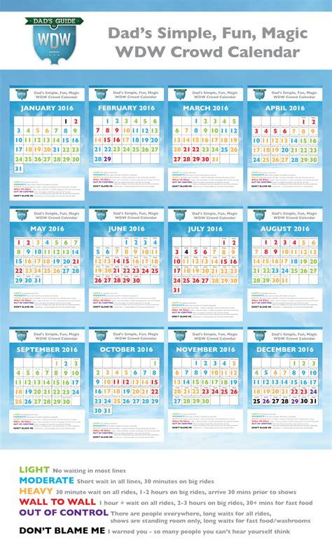 dads walt disney world crowd calendars