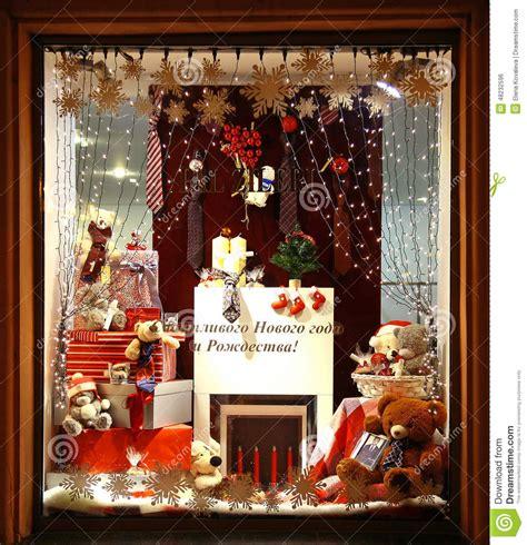 decor de noel pour vitrine decoration showcase store pal zileri nizhny novgorod editorial photo image of glass