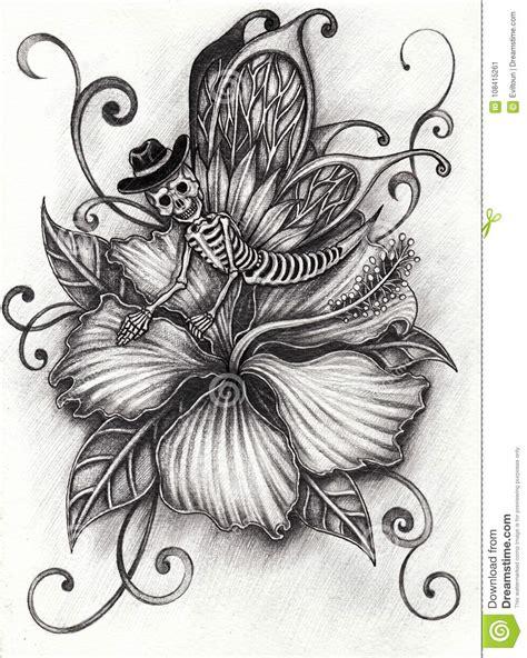Art Surreal Fantasy Butterfly Skull Flower Stock