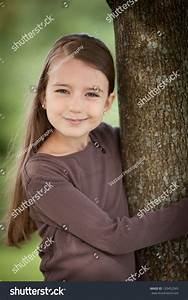 Beautiful Young Caucasian Girl Brown Hair Stock Photo ...