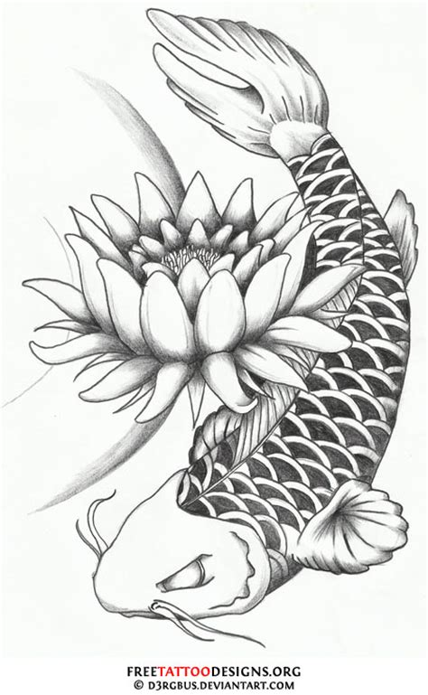 lotus flower  dragon koi fish tattoo design