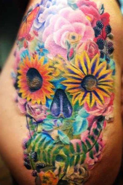 floral sugar skull tattoo   fred  tattooempire fenton mi ink pinterest sugar