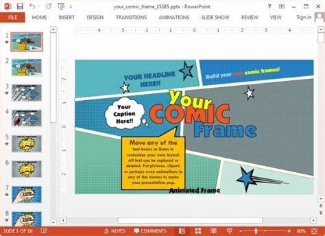 comic frame powerpoint template mastering  art