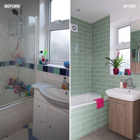 green bathroom makeover  tropical wallpaper