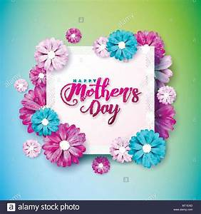 Happy Mothers Day Greeting card with flower on pink ...