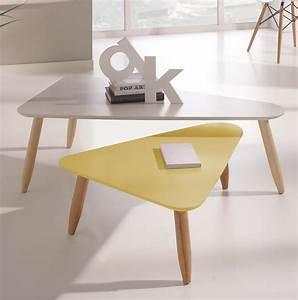 Table Basse Gigogne Triangulaire Laque Blanc Et Jaune