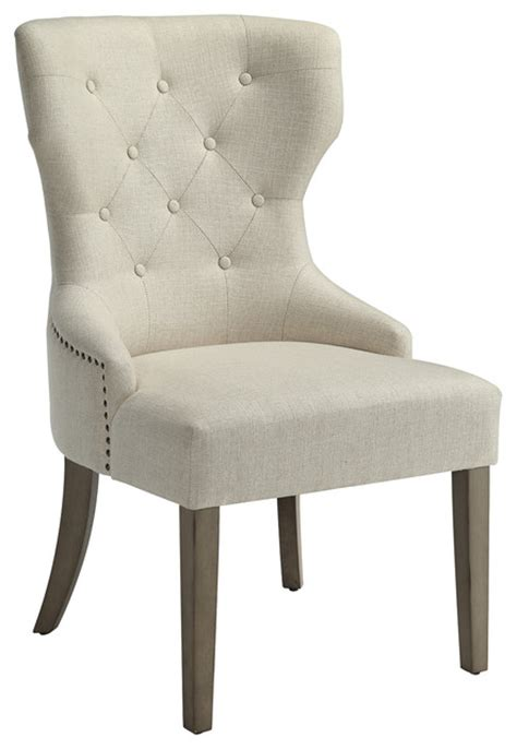 beige upholstered dining side chair button tufted