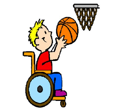 dessin de basket en fauteuil roulant colorie par membre