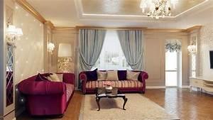 Design Interior Elegant Modern Living Room Purple