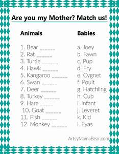 Animal Matching Baby Shower Game (+Free Printable) - Artsy