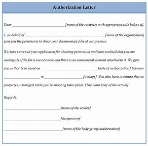 Letter Template For Authorization  Example Of