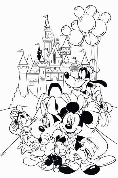 Coloring Disney Pages Mickey Disneyland Mouse Printable
