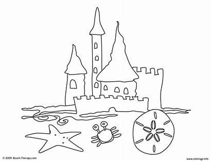 Coloring Castle Sand Plage Facile Chateau Dessin
