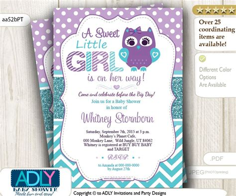 Purple Baby Shower Invitations by Purple Teal Owl Baby Shower Invitation 15 00 Http