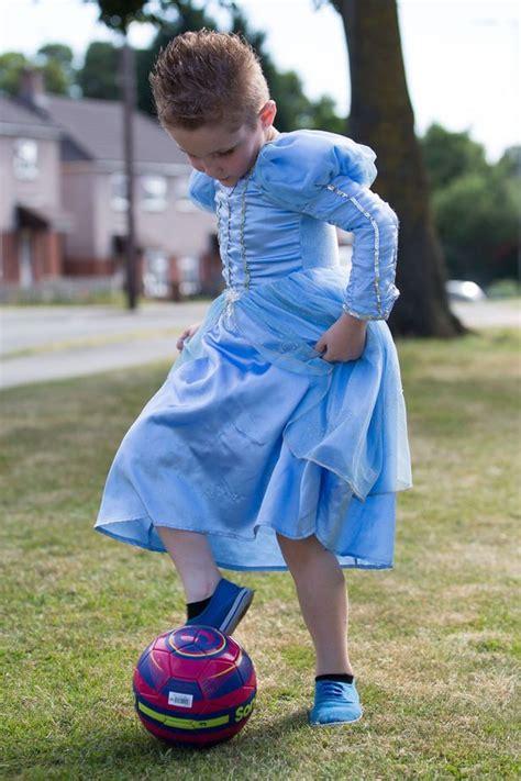 football mad boy wears princess dress  tiara mum