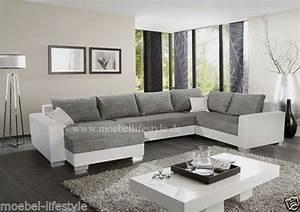 Weiß Graues Sofa : wohnlandschaft xl format ecksofa im u form in weiss grau ~ A.2002-acura-tl-radio.info Haus und Dekorationen