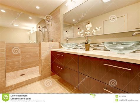 Elegant Bathroom With Glass Vessel Sinks Stock Photo