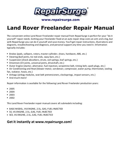 online auto repair manual 2002 land rover freelander engine control land rover freelander repair manual 2002 2005