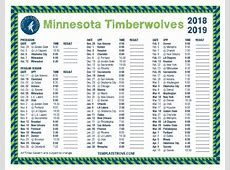 Printable 20182019 Minnesota Timberwolves Schedule