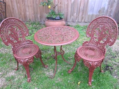 vintage cast iron patio outdoor bistro set table two