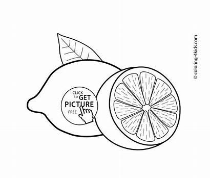 Coloring Pages Lemon Lemons Fruits Drawing Printable