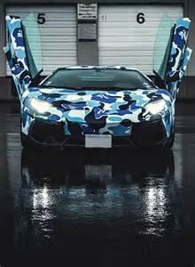 Blue Lamborghini Aventador Camo