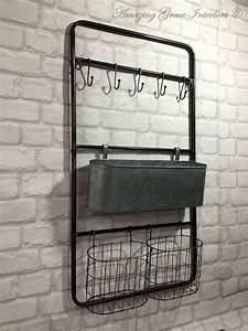 Vintage, Industrial, Style, Metal, Wall, Shelf, Unit, Rack, Hooks, Storage, Unit, Baskets, U2013, Amazing, Grace