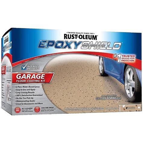 rust oleum 251966 epoxyshield tan garage floor coating kit
