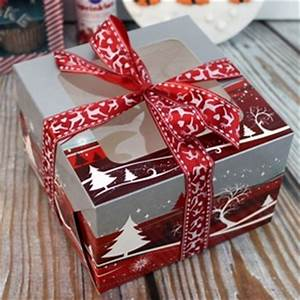 6 Inch Christmas Cake Box With Window Red & Silver