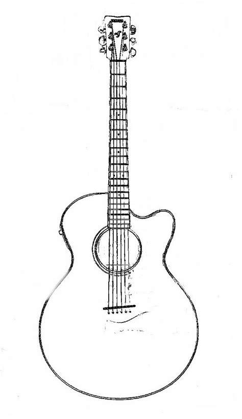 guitar clipart coloring page pencil   color guitar