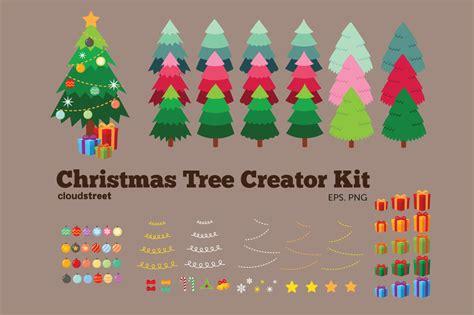 christmas tree creator kit illustrations on creative market