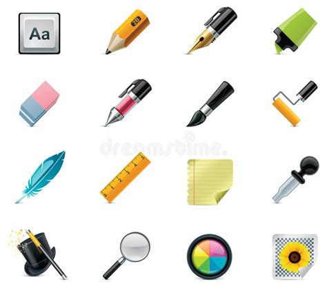 Drawing And Writing Tools Icon Set Stock Vector  Illustration Of Image, Paint 18912325