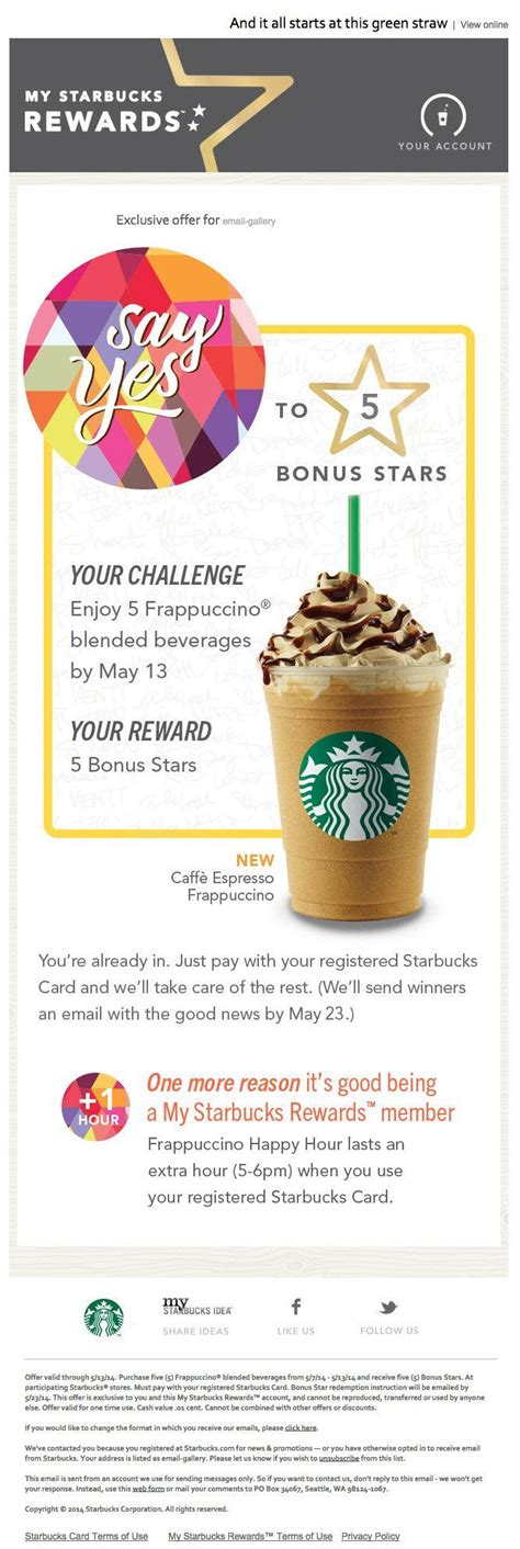 Cafe in the sandton area of johannesburg, south africa, on monday, jan. My Starbucks Rewards Starbucks Coffee. Loyality program email design #email - Email Template ...