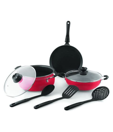 real kitchen cookware set  piece cookware  handi  kadhai  dosa tawa  spoon  lidset