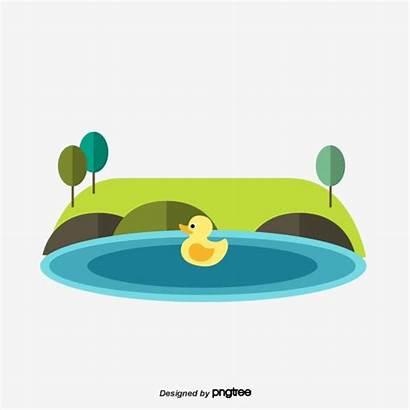 Pond Cartoon Clipart Transparent Psd Grassland Trees