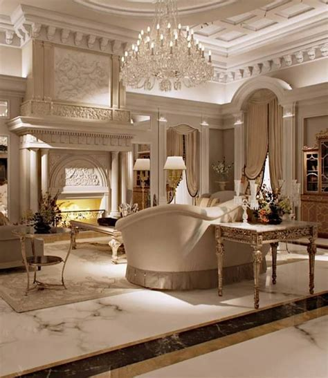 Luxury Home Interiors by Luxurious Living Room Marble Millwork Chandelier