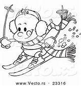 Cartoon Skiing Coloring Outline Vector Ski Little Clipart Drawing Line sketch template