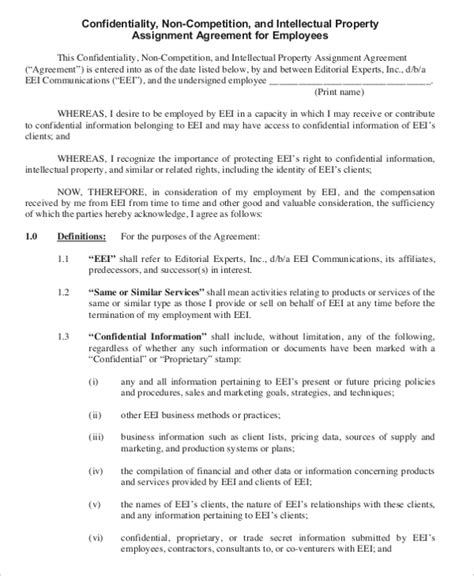Business Templates Noncompete Agreement by 11 Business Non Compete Agreement Templates Free Sle