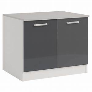 Meuble Bas Cuisine 120 Cm : meuble bas 2 portes 120 cm shiny gris ~ Dode.kayakingforconservation.com Idées de Décoration