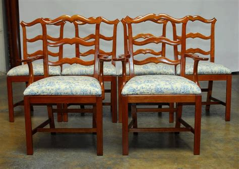 Chippendale Ladder Back Toile Dining Chairs At 1stdibs
