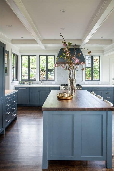 gorgeous blue cabinets   kitchen  butcher block