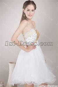White with Gold Beads Sweet 16 Cocktail Dresses:1st-dress.com
