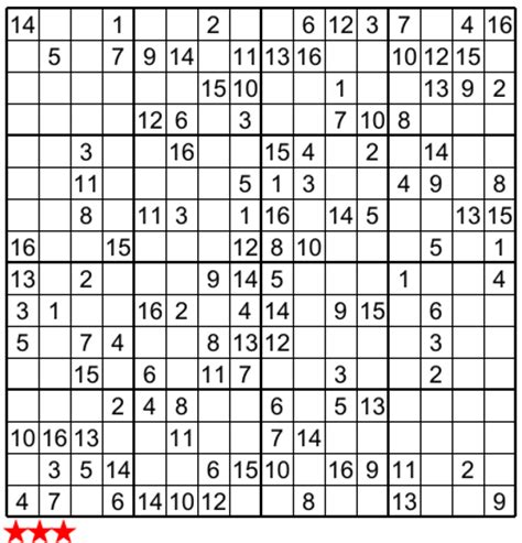 If you want to play a different puzzle, go to the archive page and choose your puzzle. Super Sudoku 16X16 e :no 5