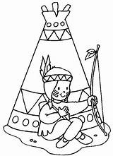 Coloring Teepee Indian sketch template
