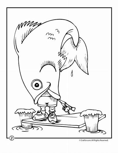 Coloring Pages Camping Fish Fisherman Funny Adult