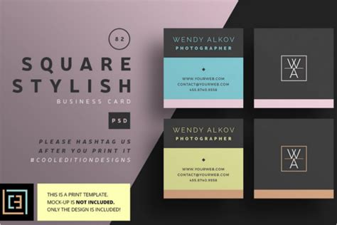 53+ Square Business Card Templates Free Psd, Word Designs
